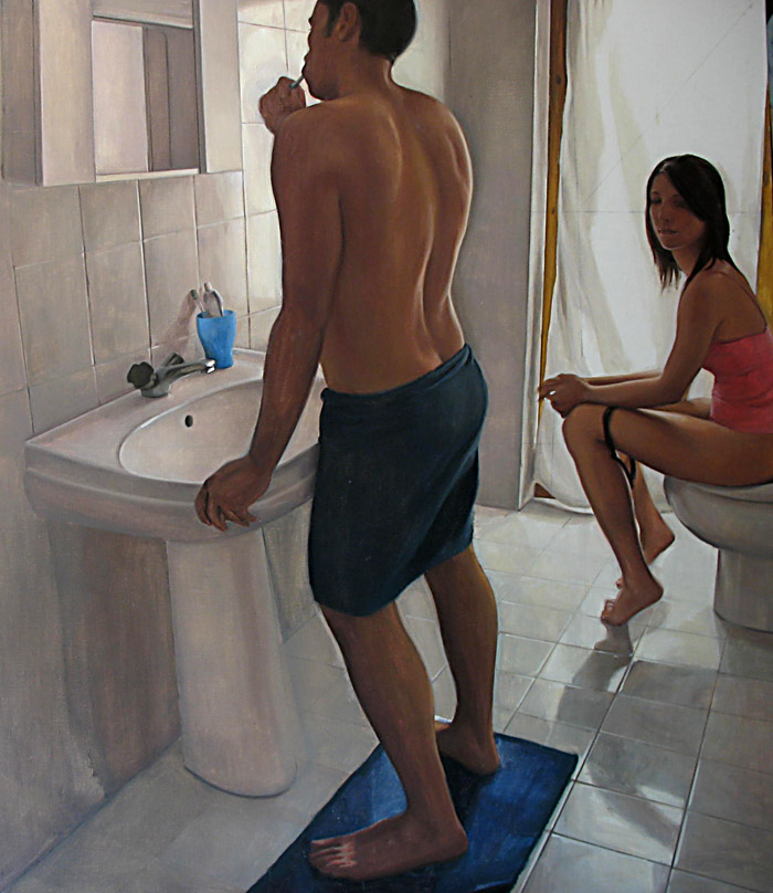 2007 - Interno Con Due Figure 150x130cm Oil Canvas